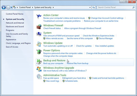 Windows 7 Backup Utility in Control Panel