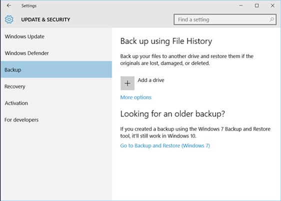 Accessing Windows 10 File History from Settings