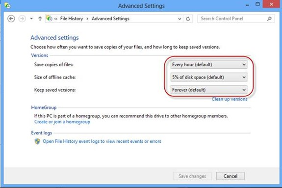 Changing the Backup Schedule in Windows 8