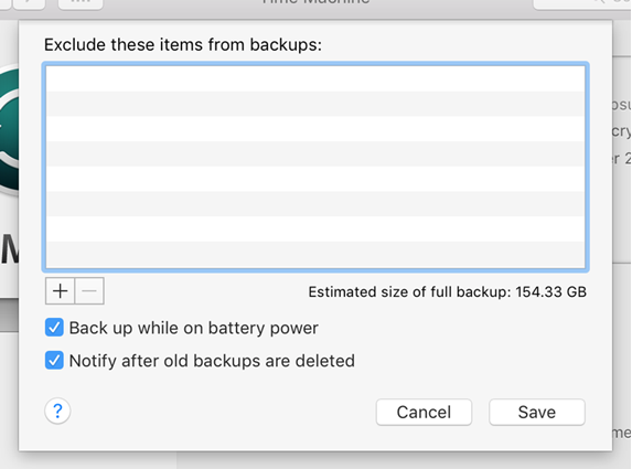 Exclude items from Time Machine Backups
