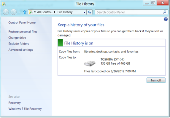 Excluding folders from File History