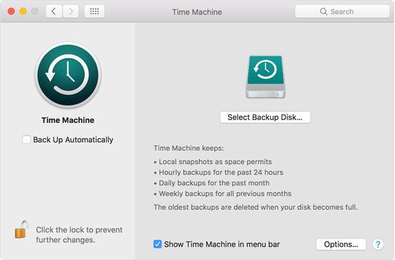Selecting Backup Disk in Time Machine