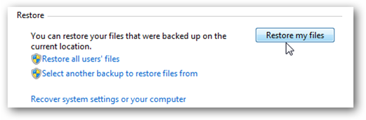 Restore files section in Backup and Restore