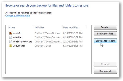 Choose which files or folders to restore
