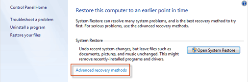 Recover System Settings or Computer option