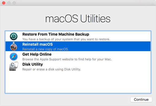 The macOS Utilities Menu